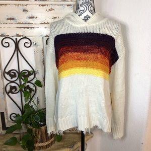 Vintage Havana sunset distressed edge sweater
